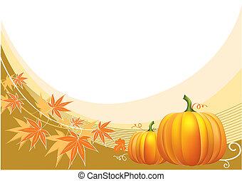 acción de gracias, plano de fondo, vector, pumpkins.
