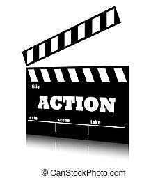 acción, genre., película, aplauda, cine