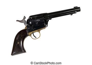 acción, oeste, solo, revólver viejo