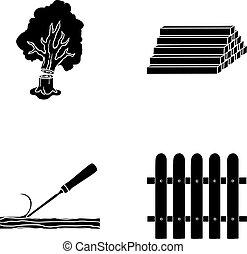 acción, símbolo, madera, vector, colección, troncos, fence., cincel, madera, negro, estilo, iconos, conjunto, web., ilustración, pila, madera
