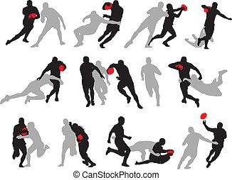 acción, silueta, posturas, grupo, rugby