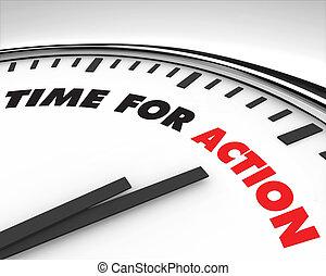 acción, tiempo, -, reloj
