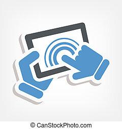 acción, touchscreen, icono