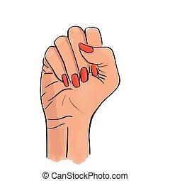acción, vector, blanco, mano, plano de fondo, aislado, dibujado, ilustración