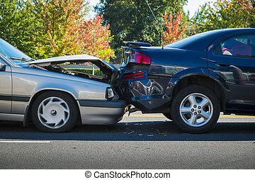 accidente auto, dos, enredadas, coches