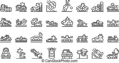 accidente, contorno, iconos, coche, estilo, conjunto