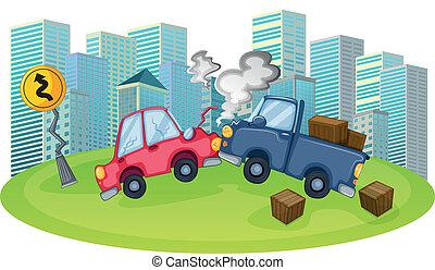 accidente de coche, alto, edificios, frente