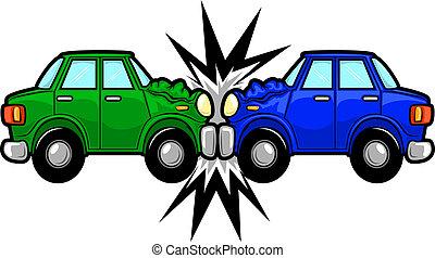 accidente de coche, caricatura