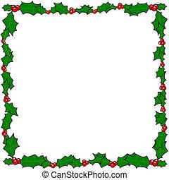 acebo, marco, frontera, navidad