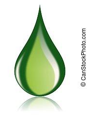 aceite, combustible, icono, gota, verde, bio