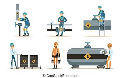 aceite, conjunto, pipeline., illustrations., vector, hombre