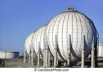 aceite, contenedor, gasolina, grande, industria, químico, tanque