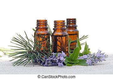 Aceite de Aroma en botellas con lavanda, pino y menta