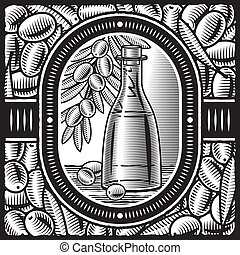 Aceite de oliva de retrógrado blanco y negro