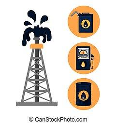 aceite, diseño, industria, petróleo