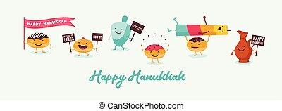 aceite, hanukkah, bandera, dreidel, divertido, feriado, jarra, judío, tradicional, iconos, rosquillas, vela, caracteres, saludo