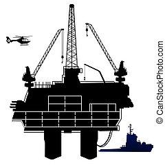 aceite, perforación mar adentro, aparejo, área