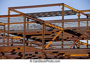 acero, edificio, marco, construcción