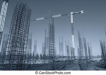 acero, hacer cumplir, sitio, arriba, concreto, construcción, levantamiento, marcos