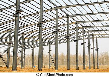 acero, industrial, rayo, techo, producción, taller