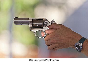 acero, inoxidable, disparo, revólver