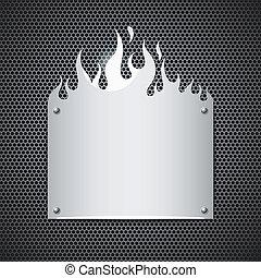 acero, inoxidable, llamas, fuego, vector