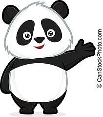 acogedor, panda, gesto