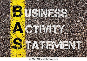 Acrónimo comercial BAS como declaración de actividad empresarial