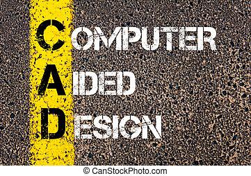 Acrónimo comercial CAD como diseño de computadoras