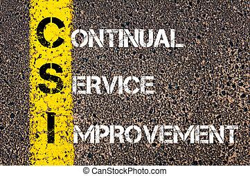 Acrónimo de negocios CSI: mejora continua del servicio