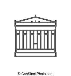 Acrópolis de Atenas, Grecia, ícono de línea de referencia.