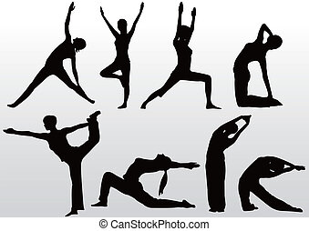 actitud del yoga, silueta, mujeres