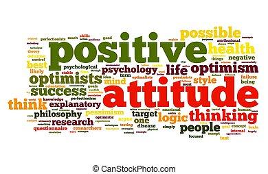 actitud positiva, concepto, etiqueta, nube