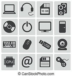 Activen iconos de computadora negra