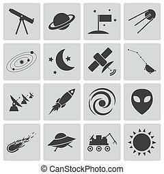 Activen iconos del espacio negro