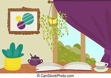 actividad, café, desayuno, plano, cómodo, bebida, lugar, vector, hora del té, aislado, caliente, mañana, libro, lectura, white., ilustración, recreativo