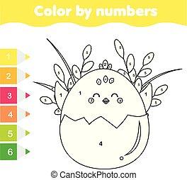 Actividad de Pascua. Juego educativo para niños. Actividad matemática. Color por número, hoja de trabajo imprimible. Página de color con pollo lindo.