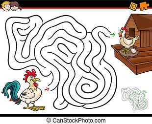Actividad del laberinto de dibujos con gallos y gallinas