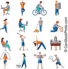 actividad, físico, iconos
