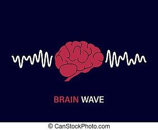 actividad, onda, concept., humano, fondo., mental, waves., cerebro, azul, mente, wave., ilustración, vector, aislado, rosa