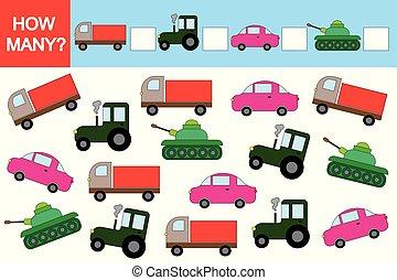 Actividad para niños. Juego educativo. ¿Cuántos transportes?
