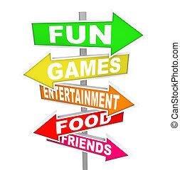 Actividades de entretenimiento divertidas señalan direcciones