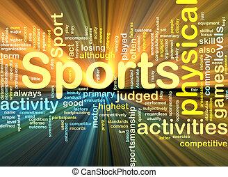 Actividades deportivas, concepto de fondo brillante