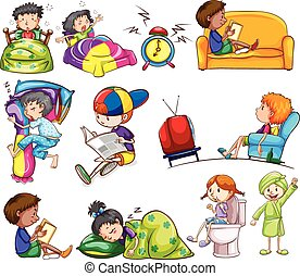 actividades, niños, diario