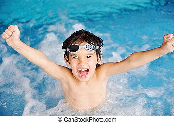 actividades, piscina, juego, agua, verano, niños, felicidad, natación