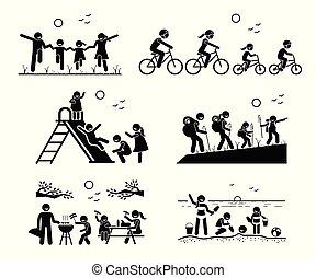 Actividades recreativas familiares al aire libre.
