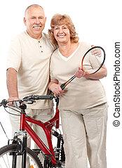 activo, pareja edad avanzada