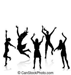 activo, siluetas, mujeres felices
