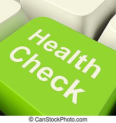 actuación, cheque, computadora, llave verde, examen, salud, médico