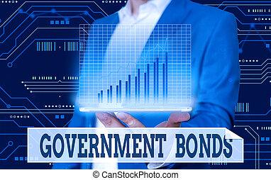 actuación, deuda, gobierno, mano, spending., issued, escritura, bonds., foto, seguridad, apoyo, showcasing, empresa / negocio, conceptual